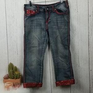 Cowgirl Tuff co. Red sparkle capri jean size 30